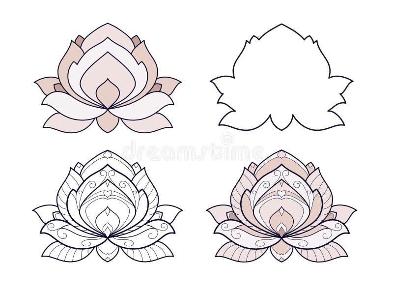A ilustração do vetor do grupo da flor de Lotus é isolada em um fundo branco Elemento decorativo simétrico com motriz do leste pa ilustração royalty free