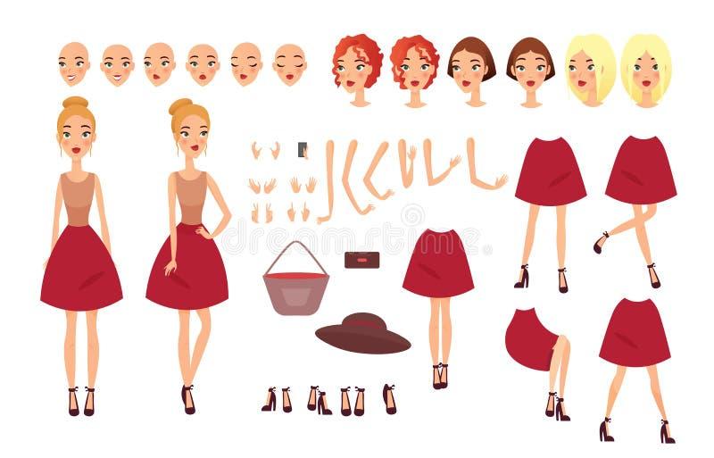 Ilustração do vetor do grupo da jovem mulher com posições diferentes das partes do corpo na roupa ocasional Caráter de Famale ilustração do vetor