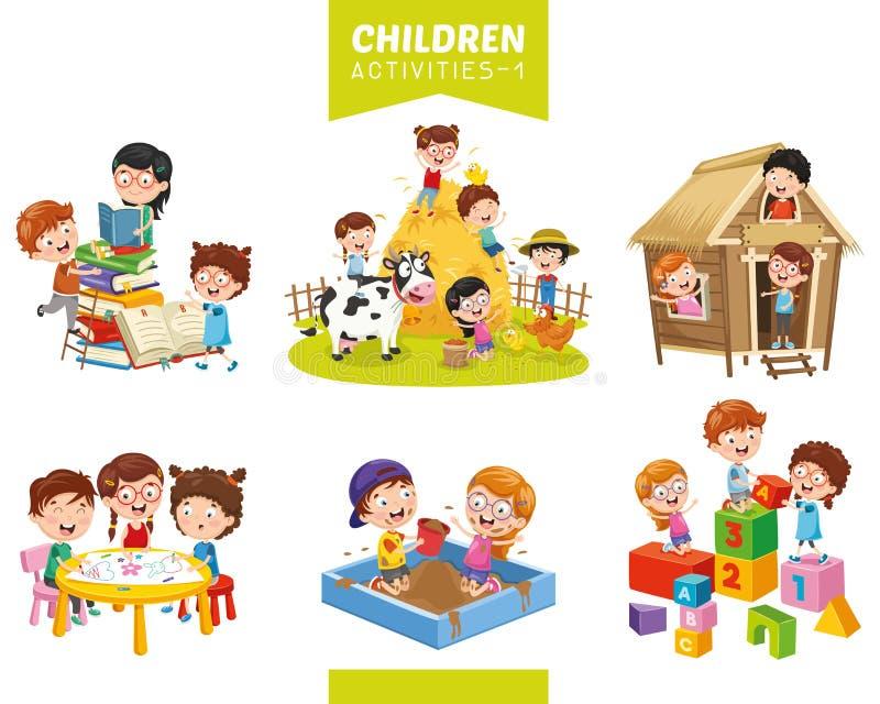 Ilustração do vetor do grupo das atividades das crianças ilustração royalty free