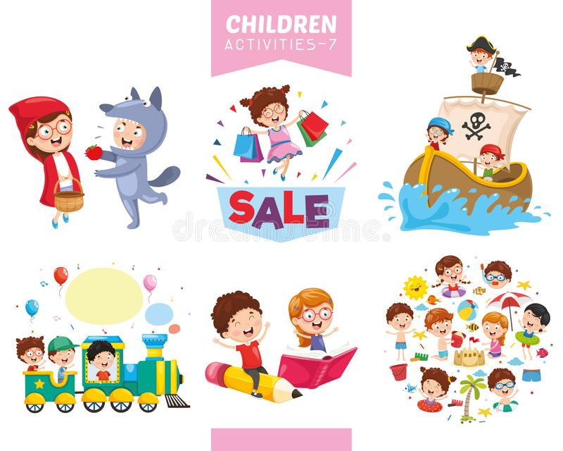 Ilustração do vetor do grupo das atividades das crianças ilustração do vetor