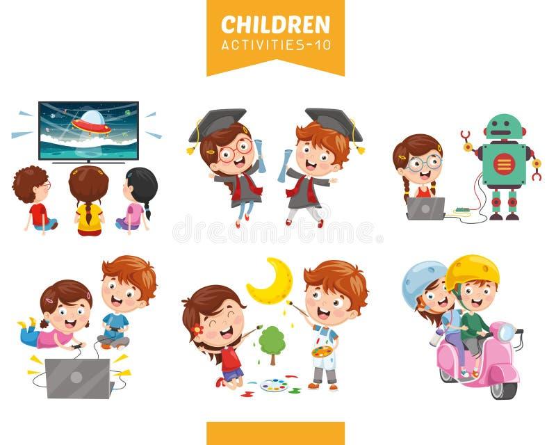 Ilustração do vetor do grupo das atividades das crianças ilustração stock
