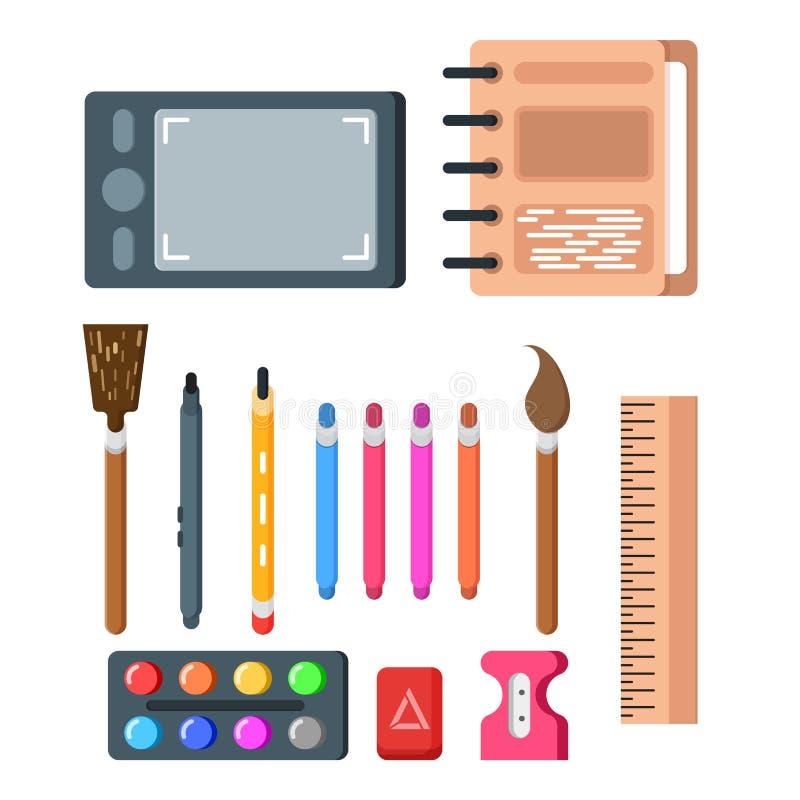 Ilustração do vetor do grupo das fontes de escola A composição consiste em pinturas que as borlas colorem o apontador de lápis e  ilustração stock