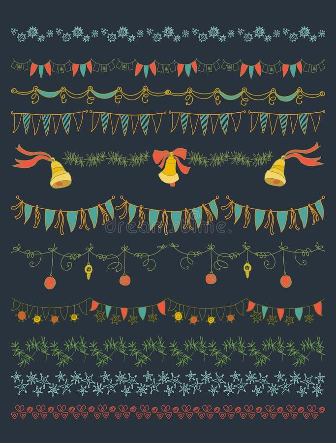 Ilustração do vetor Grupo de Natal e de elementos decorativos ilustração do vetor