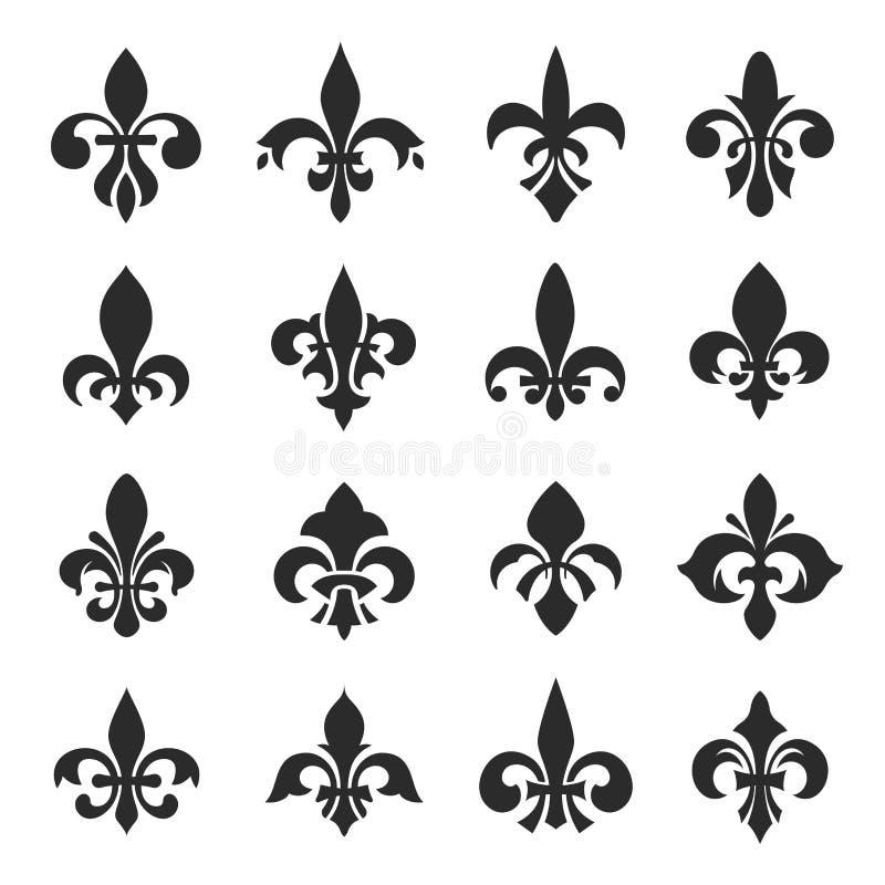 Ilustração do vetor do grupo de símbolo da flor de lis no fundo branco ilustração royalty free