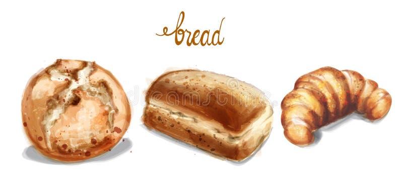 Ilustração do vetor do grupo do pão da aquarela Pão caseiro da padaria do vintage ilustração royalty free
