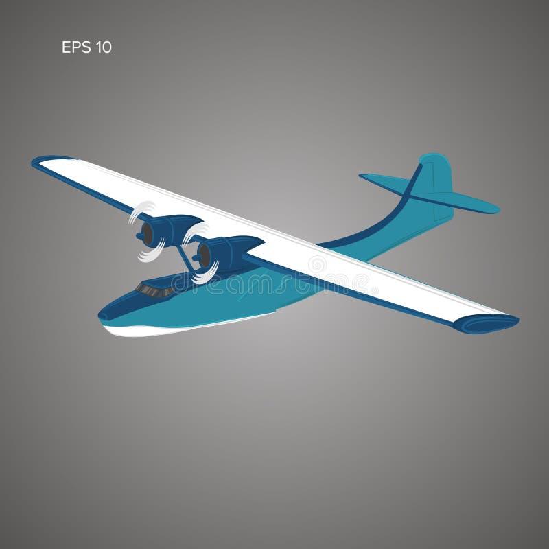 Ilustração do vetor do hidroavião do vintage Hidroavião retro Floatplane velho da marinha ilustração royalty free