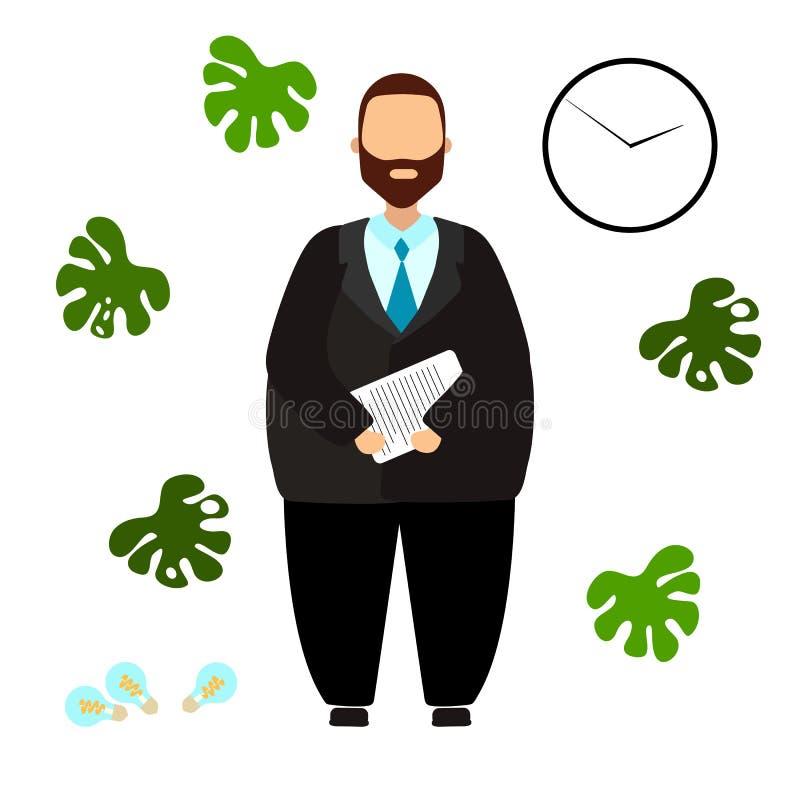 Ilustração do vetor do homem de negócios, trabalhador de escritório, gerente, caixeiro ilustração royalty free