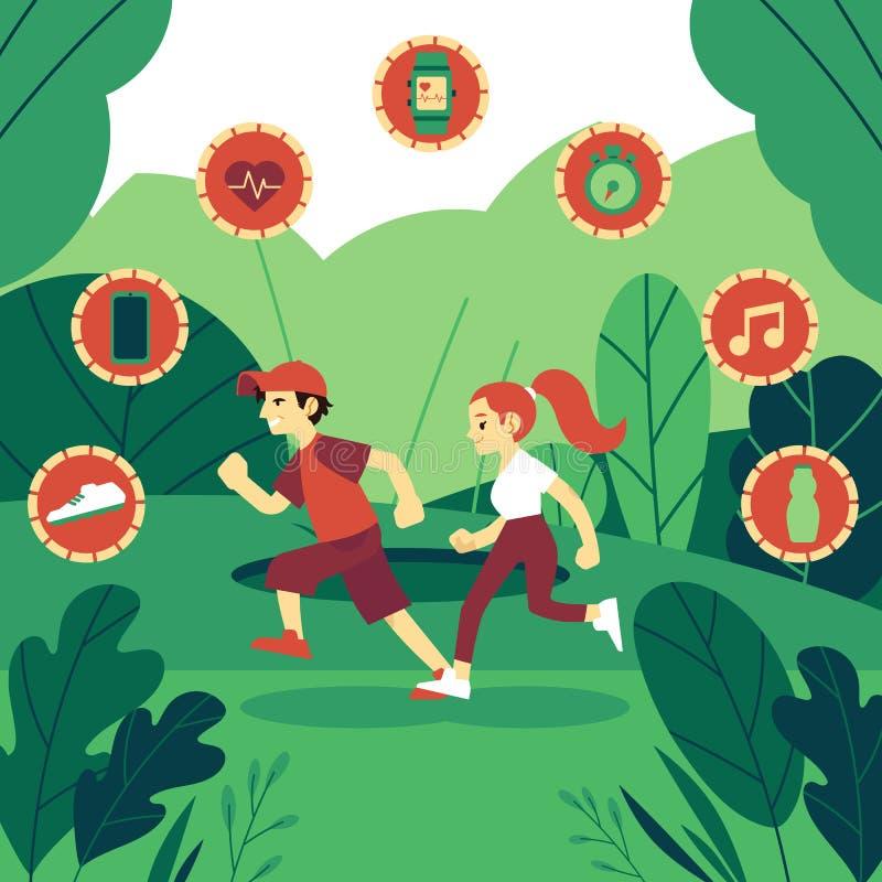 Ilustração do vetor do homem e da mulher no sportswear que corre fora ilustração stock