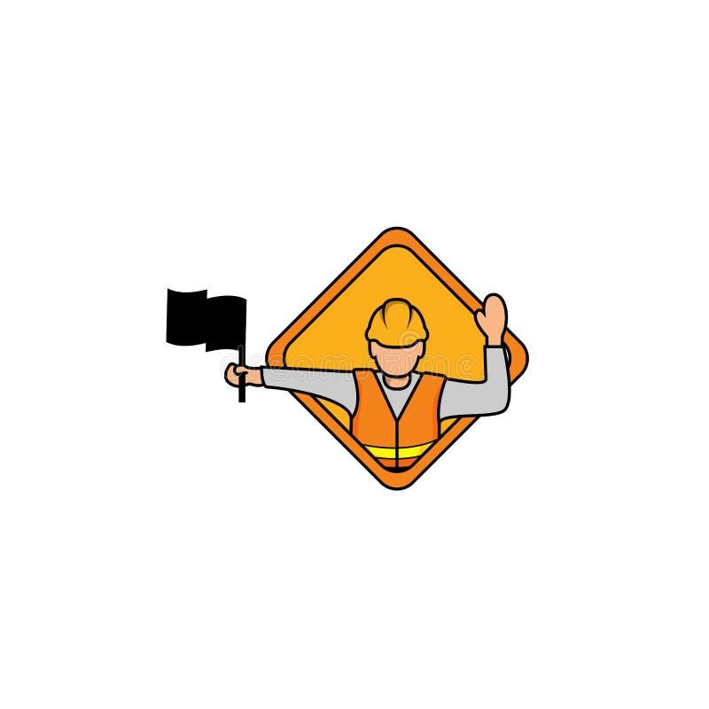 Ilustração do vetor do homem do Flagger Sinal do Flagger, sinal de estrada do Flagman adiante Molde simples moderno do logotipo d ilustração royalty free