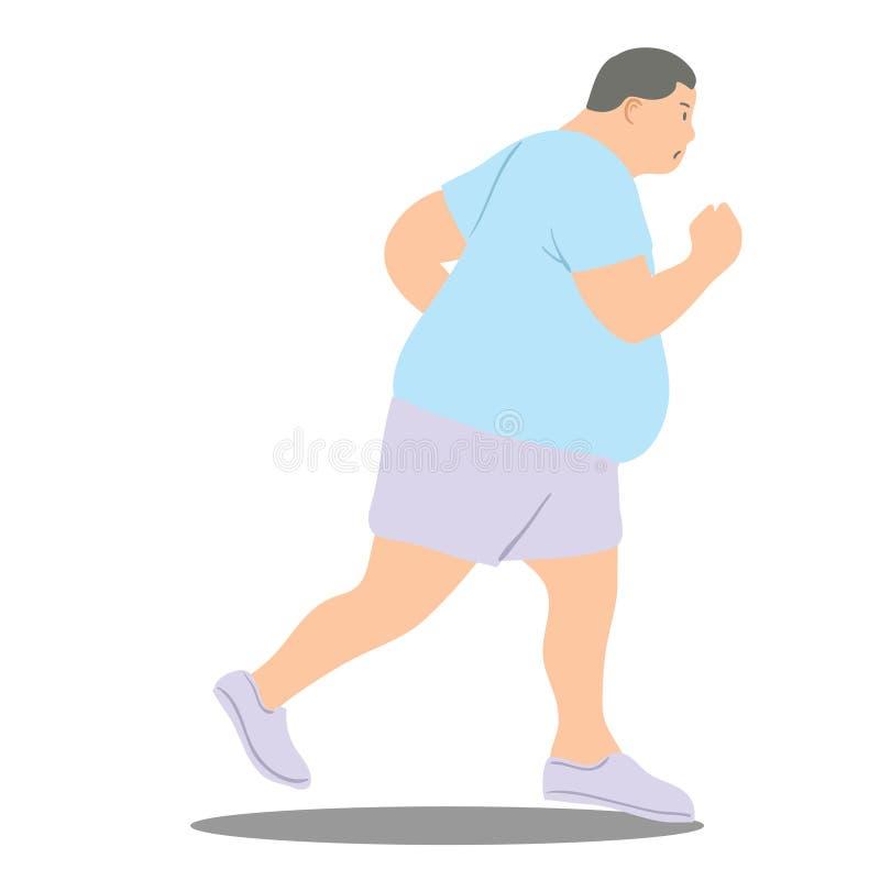 Ilustração do vetor do homem gordo que movimenta-se ilustração stock