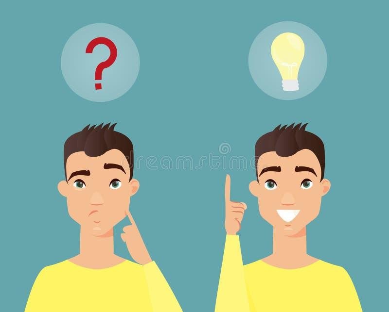 Ilustração do vetor do homem pensativo Homem novo esperto que pensa e para ter a ideia Estilo liso dos desenhos animados ilustração stock