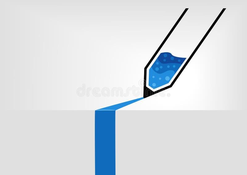 Ilustração do vetor infographic no projeto liso Pena simplificada com escrita da tinta azul na superfície do cinza ilustração stock