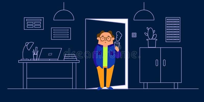 Ilustração do vetor do interior do escritório, mesa, portátil, lâmpada, vestuário, tabela, cacto em pasta Caráter ao estilo do pl ilustração do vetor