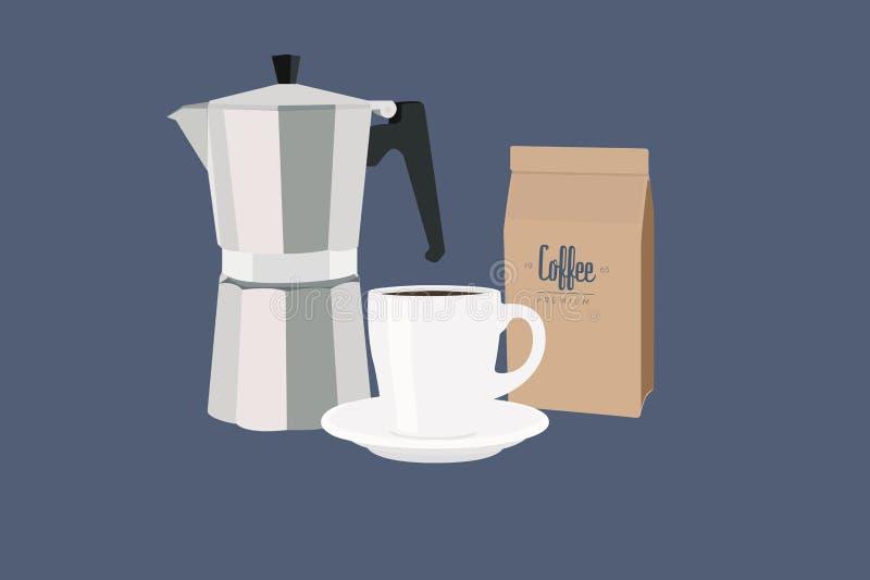Ilustração do vetor isolada de um fabricante de café, de uma xícara de café e de um pacote do café ilustração do vetor