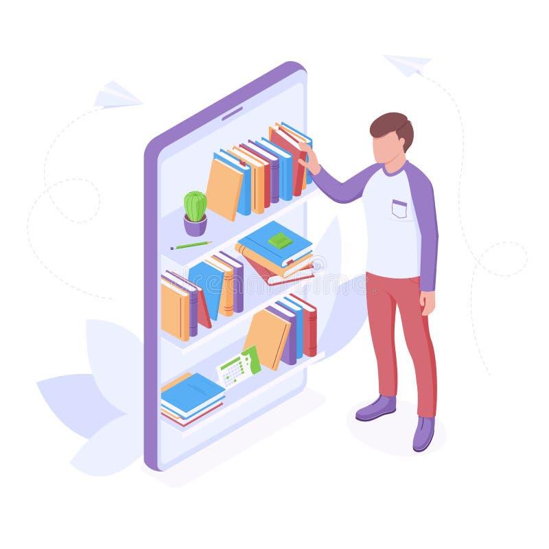 Ilustração do vetor isométrico de leitura ou educação em linha ilustração do vetor