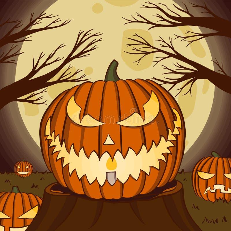 Ilustração do vetor Jack o lanterna com luz da lua para faixa de halloween também pode ser usada para alimentação social de mídia ilustração stock