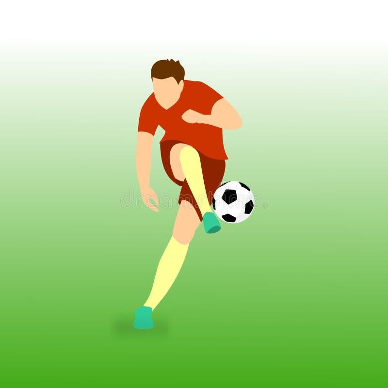 Ilustração do vetor do jogador de futebol da bola do tiro ilustração stock