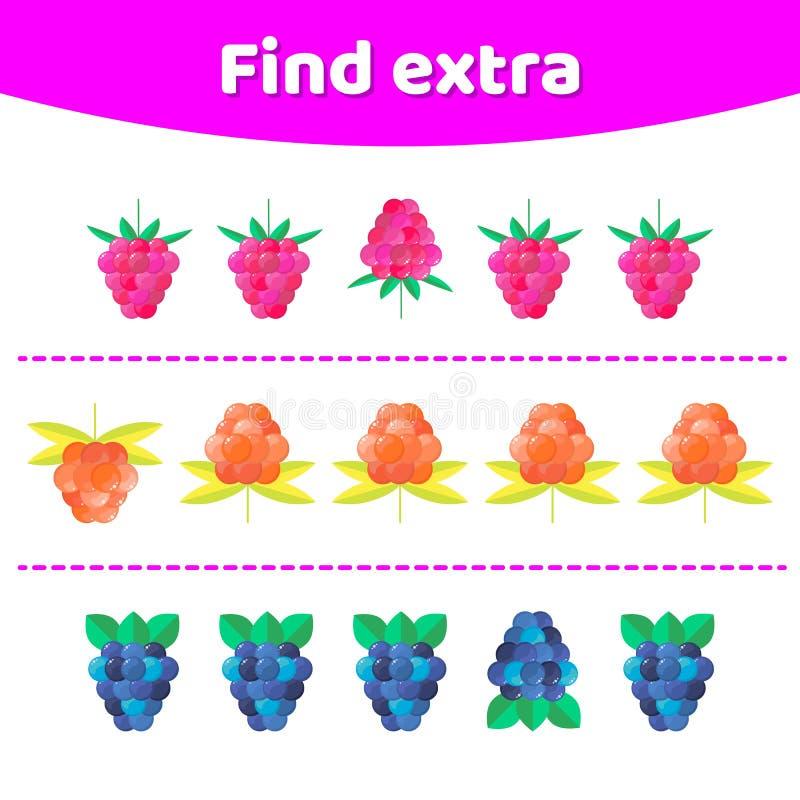 Ilustração do vetor Jogo da educação para crianças prées-escolar Encontre a fileira extra do objeto em ordem ilustração royalty free