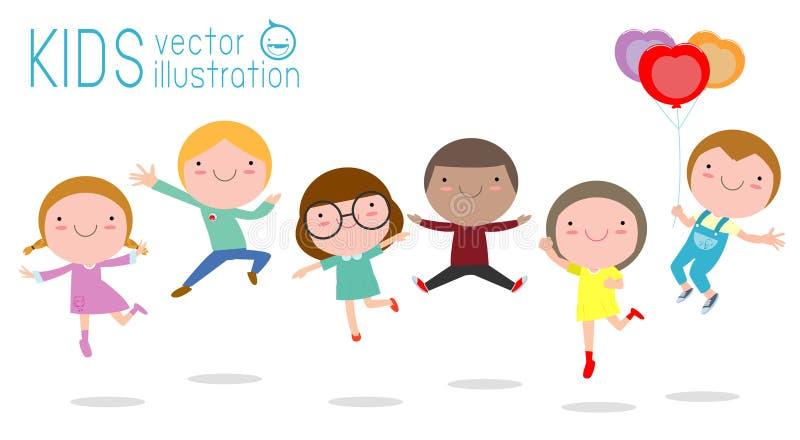 Ilustração do vetor do jogo das crianças, da criança bonito saltando e dançando isolada na ilustração branca do vetor do fundo ilustração royalty free