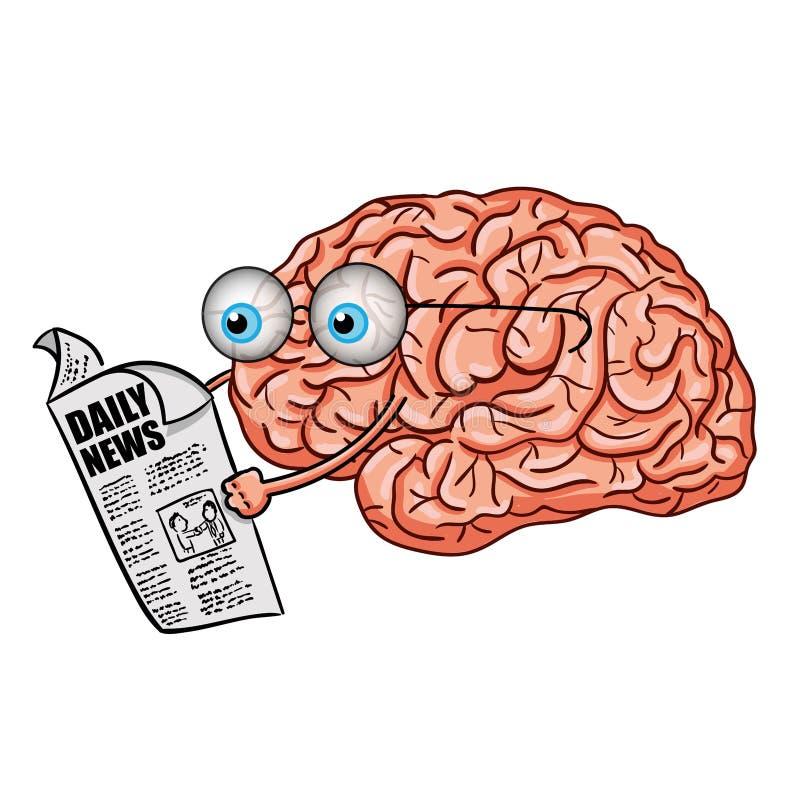 Ilustração do vetor do jornal engraçado da leitura do cérebro ilustração royalty free