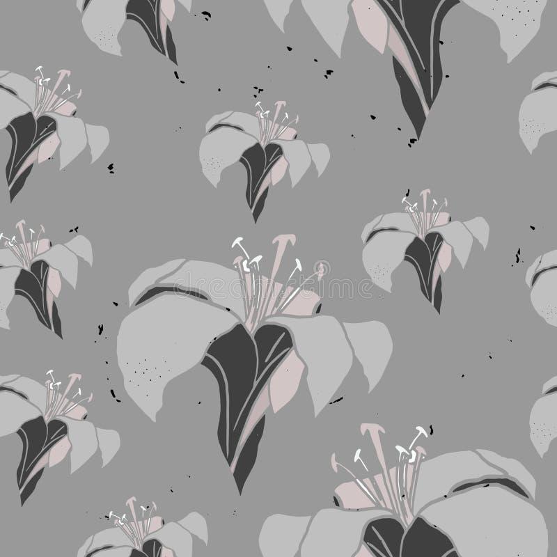 A ilustração do vetor do lírio floresce o teste padrão sem emenda ilustração royalty free