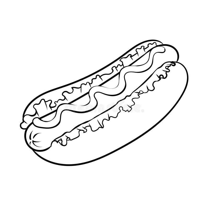 Ilustracao Do Vetor Do Livro Para Colorir Do Cachorro Quente
