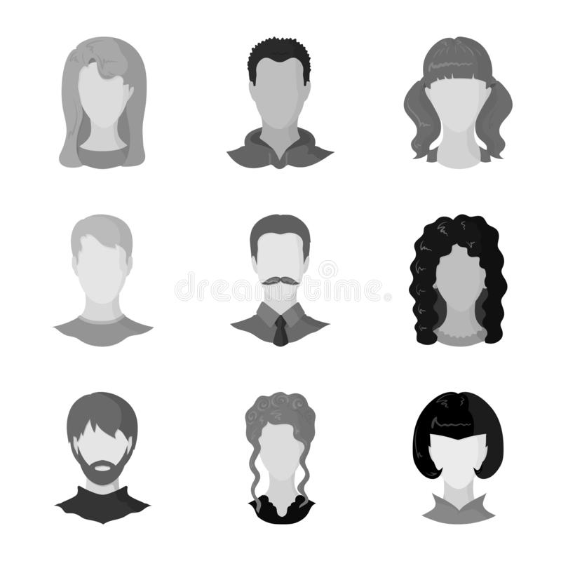 Ilustração do vetor do logotipo do caráter e do perfil Ajuste da ilustração do vetor do estoque do caráter e do manequim ilustração stock