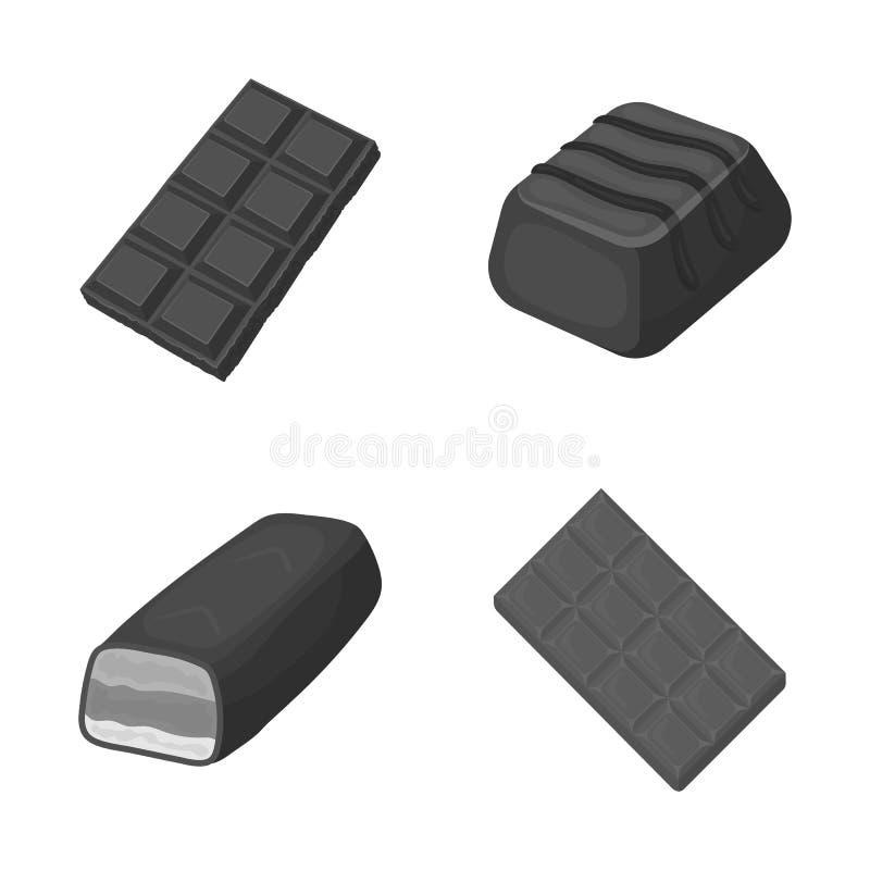 Ilustração do vetor do logotipo do chocolate e do sabor Coleção do ícone do vetor do chocolate e do pedaço para o estoque ilustração do vetor