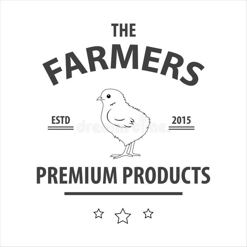 Ilustração do vetor do logotipo da exploração agrícola Silhueta da galinha, ilustração royalty free