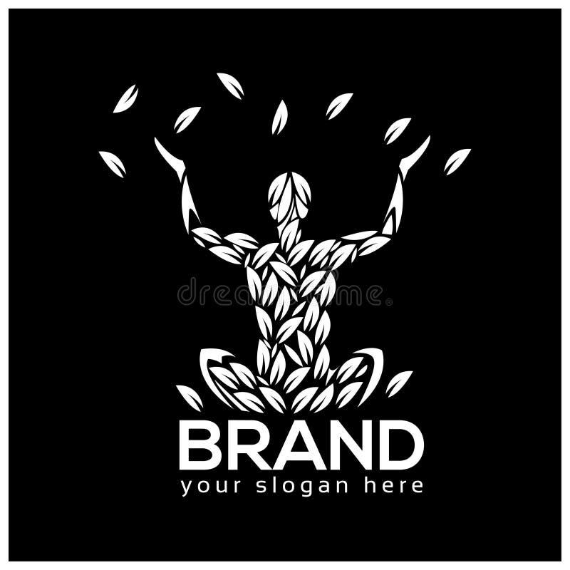 Ilustração do vetor do logotipo da meditação da ioga isolada no fundo preto ilustração do vetor
