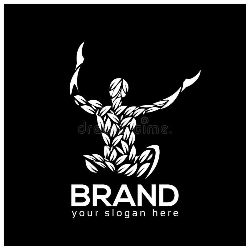 Ilustração do vetor do logotipo da meditação da ioga isolada no fundo preto ilustração stock