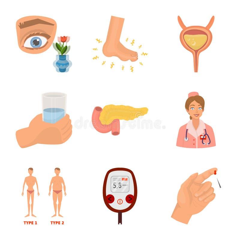 Ilustração do vetor do logotipo mellitus e do diabetes Ajuste da ilustração mellitus e da dieta do estoque do vetor ilustração stock