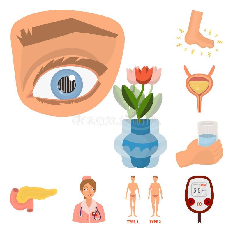 Ilustração do vetor do logotipo mellitus e do diabetes Ajuste do símbolo de ações mellitus e da dieta para a Web ilustração royalty free