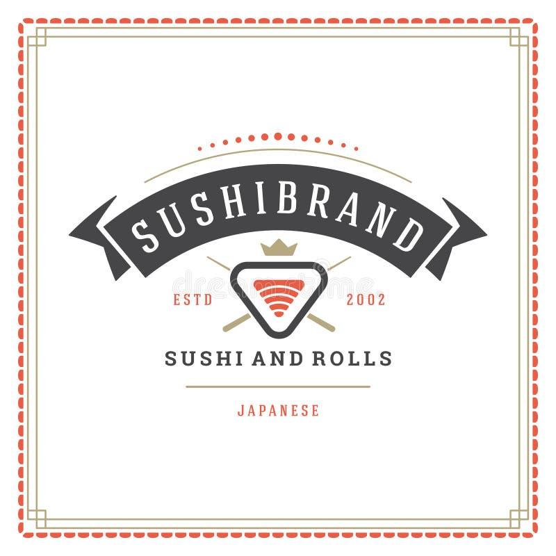 Ilustração do vetor do logotipo do restaurante de sushi ilustração royalty free