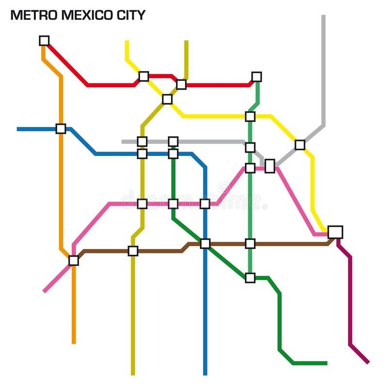 Ilustração do vetor do mapa do metro de Cidade do México ilustração stock