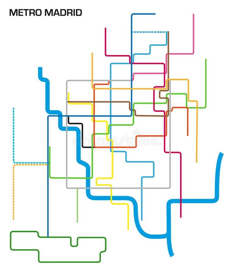 Ilustração do vetor do mapa do metro do Madri ilustração do vetor
