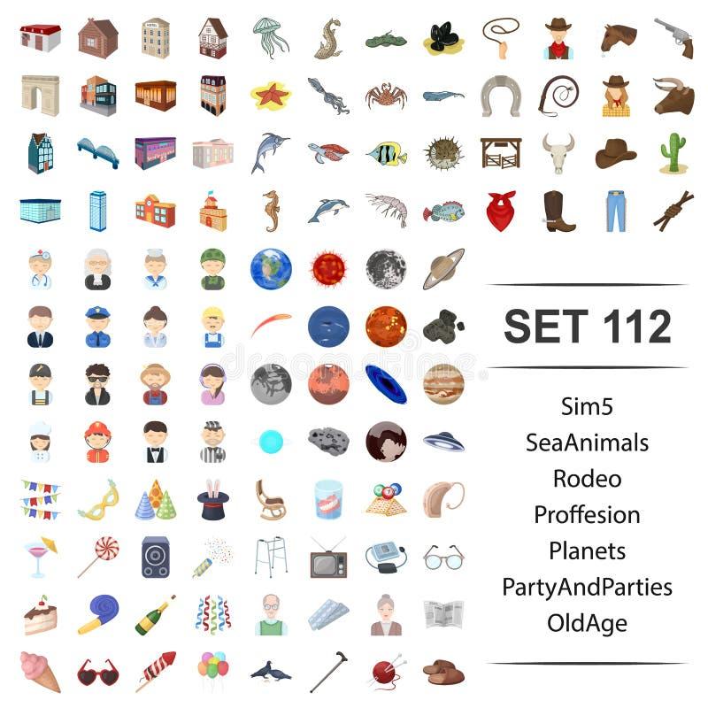 Ilustração do vetor do mar, animais, rodeio, profissão, planeta, grupo velho do ícone do ade dos partidos do partido ilustração do vetor