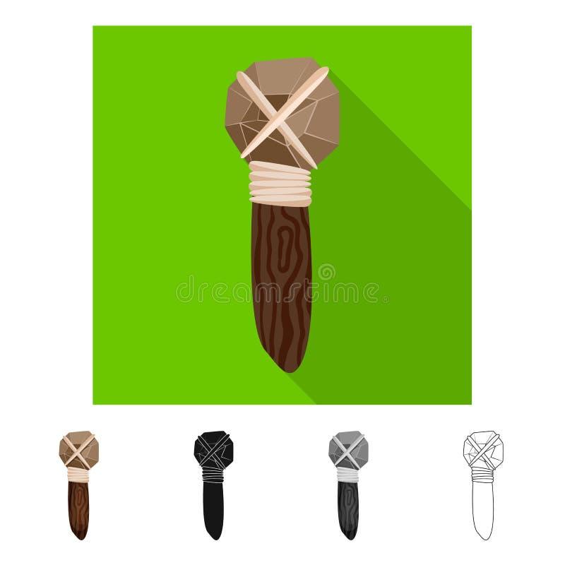 Ilustração do vetor do martelo e do ícone pré-histórico Ajuste do ícone do vetor do martelo e da ferramenta para o estoque ilustração do vetor
