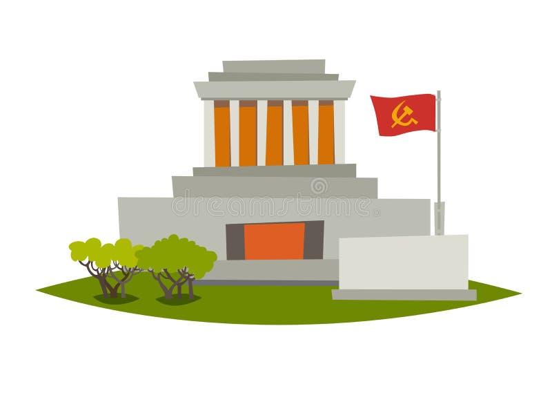 Ilustração do vetor do mausoléu Mausoléu de Ho Chi Minh em Hanoi ilustração stock