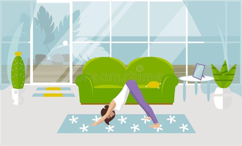 A ilustração do vetor a menina é contratada na ioga no svanasana do mukha de Adho em uma sala de visitas Projeto de uma sala mode ilustração royalty free