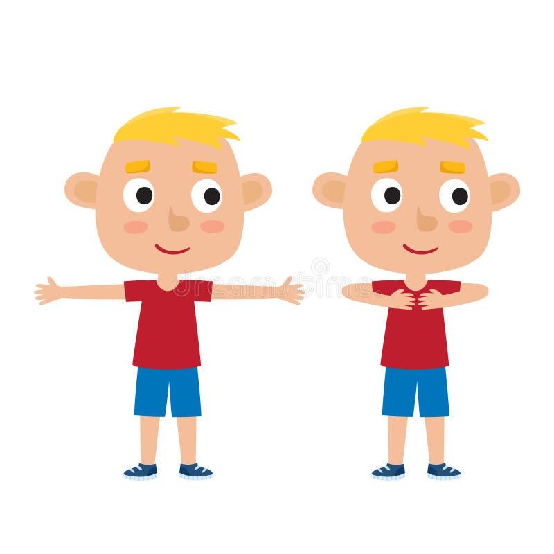 Ilustração do vetor do menino louro na pose do exercício isolado em w ilustração royalty free