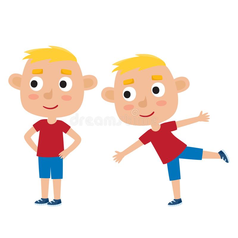 Ilustração do vetor do menino louro na pose do exercício isolado em w ilustração do vetor
