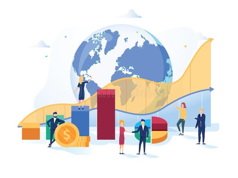 Ilustração do vetor do mercado de valores de ação Mini conceito liso das pessoas do crescimento de dinheiro com os indicadores po ilustração stock