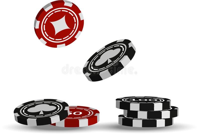 Ilustração do vetor Microplaquetas do casino no fundo branco foto de stock royalty free