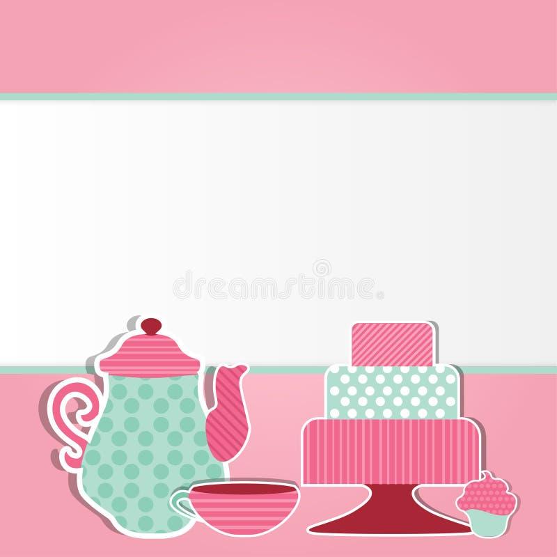 Ilustração do vetor do molde do cartão do chá foto de stock royalty free
