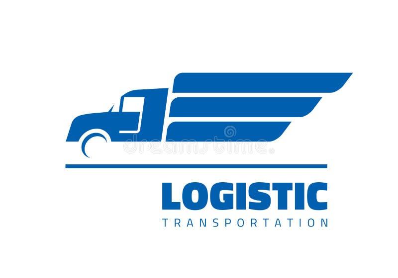 Ilustração do vetor do molde do logotipo do negócio do conceito da silhueta do caminhão do carro rápido Sinal abstrato da carga d ilustração stock