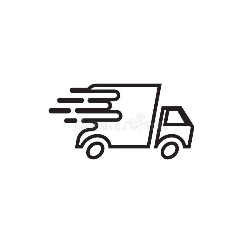 A ilustração do vetor do molde do projeto do ícone do caminhão de entrega isolou-se ilustração stock