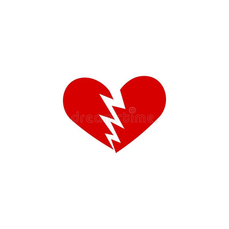 Ilustração do vetor do molde do projeto gráfico do ícone do coração quebrado ilustração do vetor