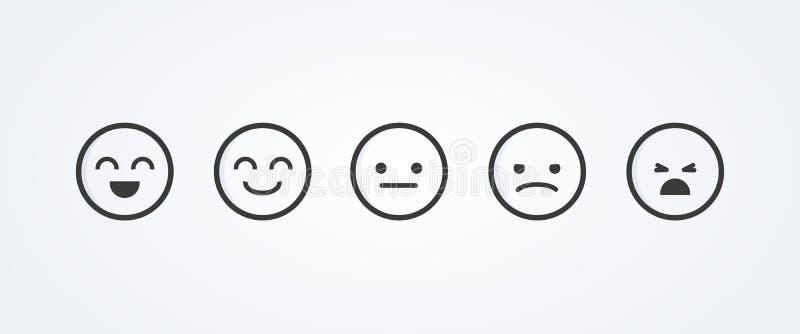 Ilustração do vetor do nível de satisfação Varie para avaliar as emo??es de seu ?ndice Feedback no formul?rio das emo??es Experi  ilustração royalty free