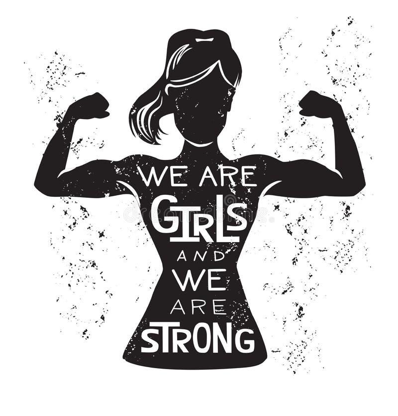 Ilustração do vetor nós somos meninas e nós somos fortes ilustração stock